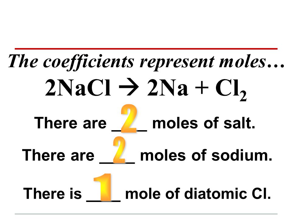 The coefficients represent moles… 2NaCl  2Na + Cl2