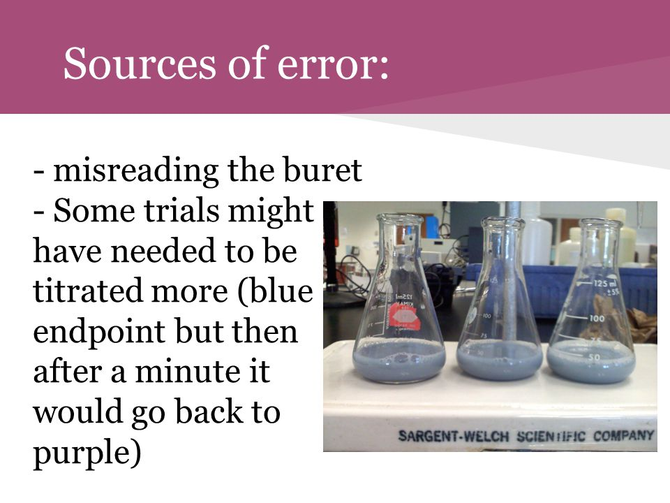 Sources of error: - misreading the buret - Some trials might