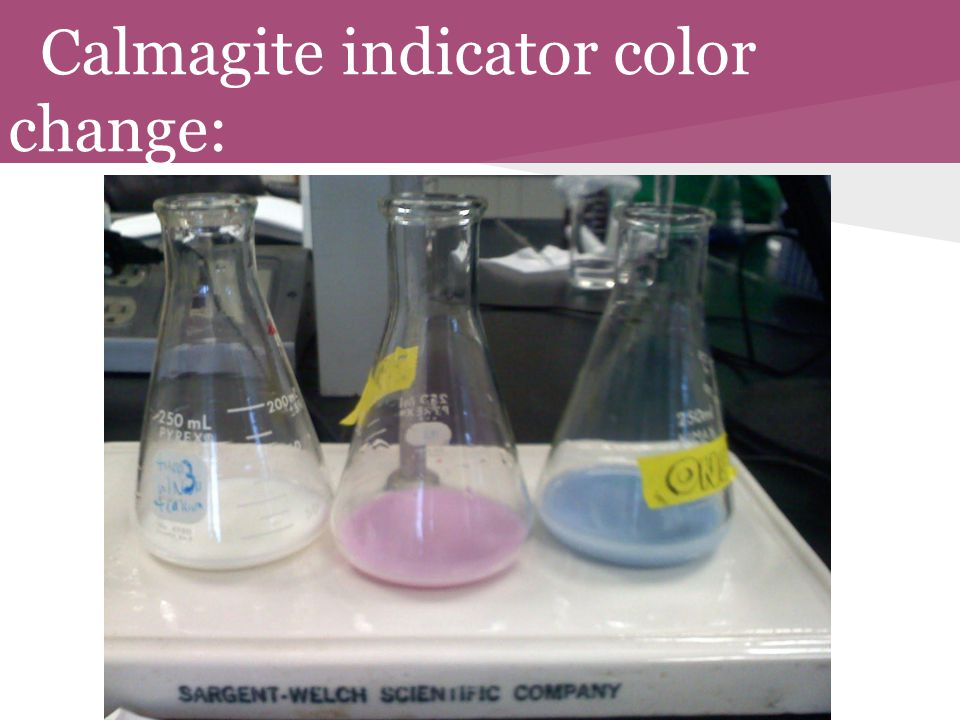Calmagite indicator color change: