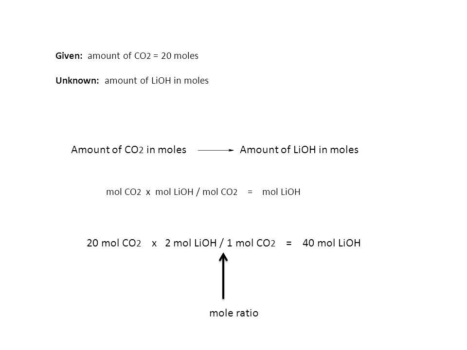 20 mol CO2 x 2 mol LiOH / 1 mol CO2 = 40 mol LiOH