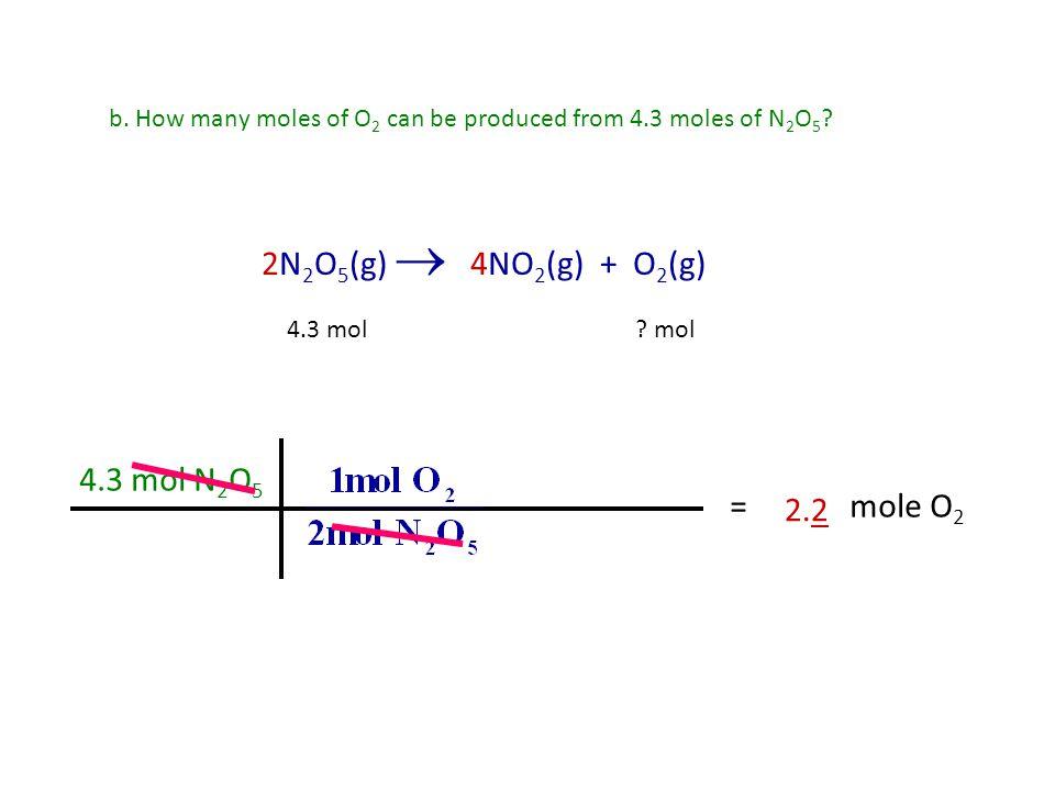 2N2O5(g)  4NO2(g) + O2(g) 4.3 mol N2O5 = mole O2 2.2
