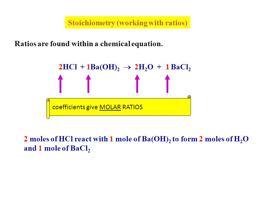 Stoichiometry (working with ratios)