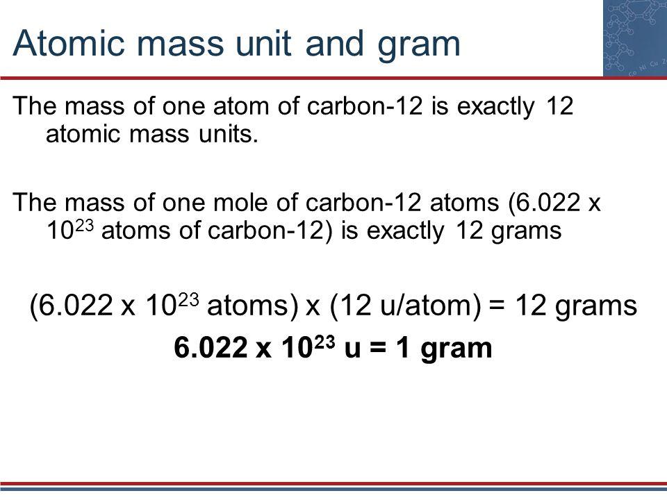 Atomic mass unit and gram