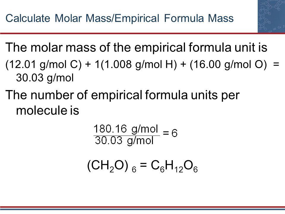 Calculate Molar Mass/Empirical Formula Mass