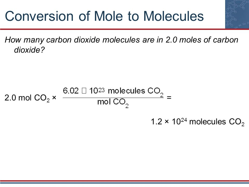 Conversion of Mole to Molecules