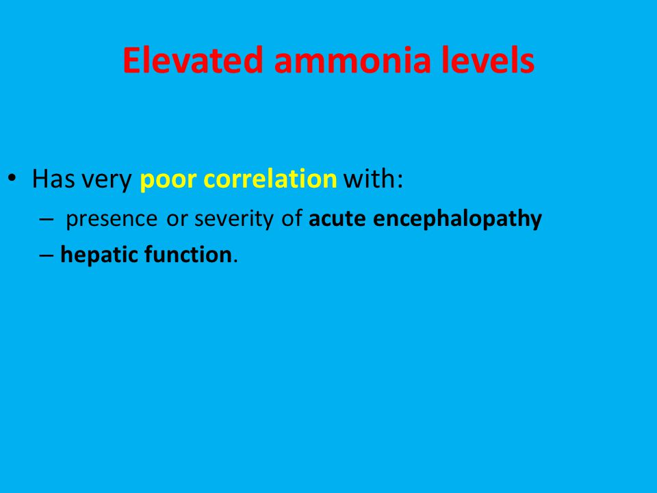 Elevated ammonia levels