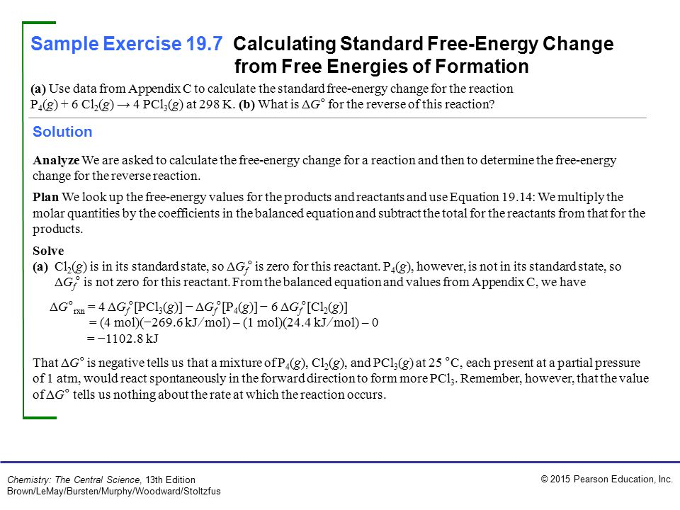 Sample Exercise 19.7 Calculating Standard Free-Energy Change from Free Energies of Formation