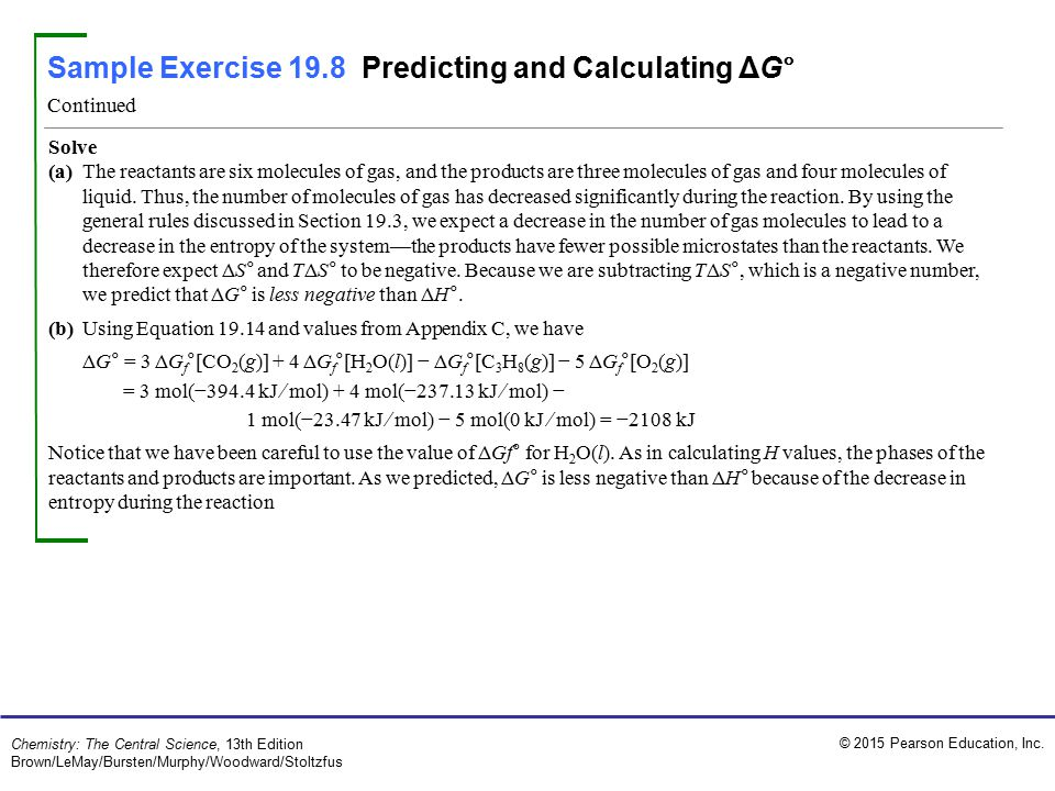 Sample Exercise 19.8 Predicting and Calculating ΔG°