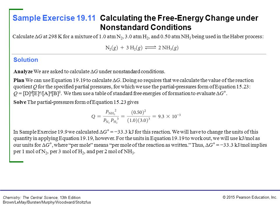 Sample Exercise 19.11 Calculating the Free-Energy Change under Nonstandard Conditions