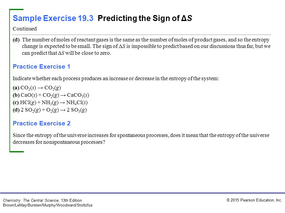 Sample Exercise 19.3 Predicting the Sign of ΔS