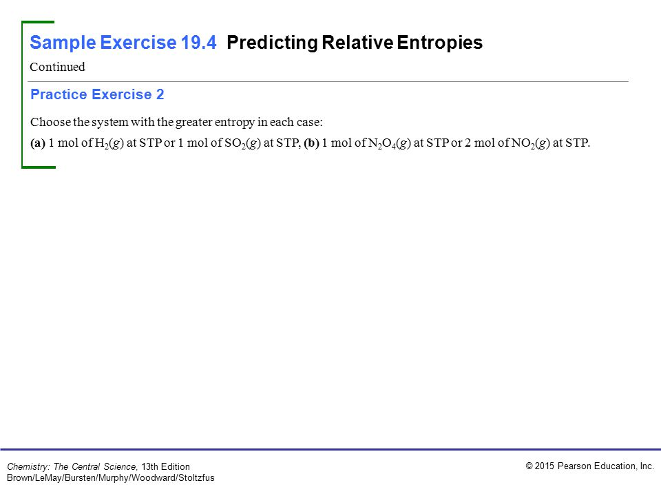 Sample Exercise 19.4 Predicting Relative Entropies