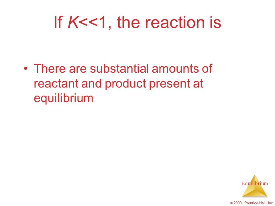 If K<<1, the reaction is