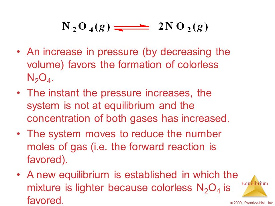 An increase in pressure (by decreasing the volume) favors the formation of colorless N2O4.
