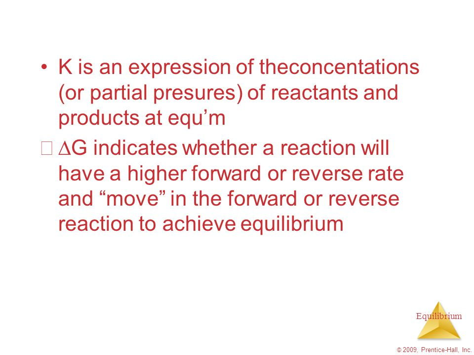K is an expression of theconcentations (or partial presures) of reactants and products at equ'm
