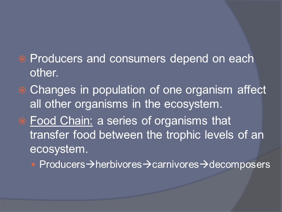 Producers and consumers depend on each other.