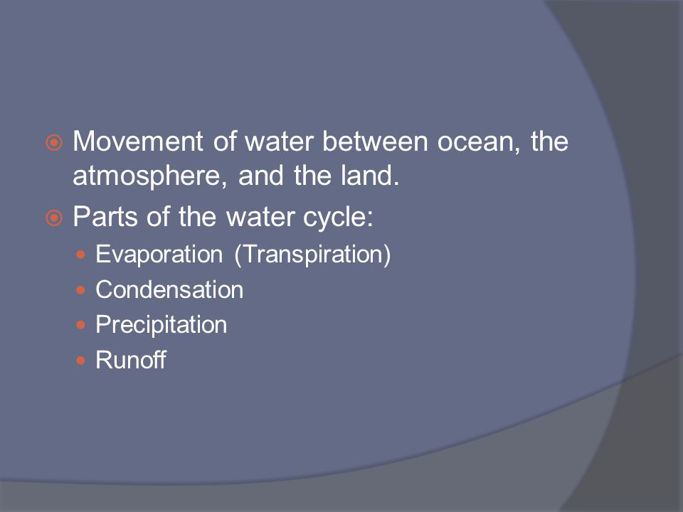 Movement of water between ocean, the atmosphere, and the land.