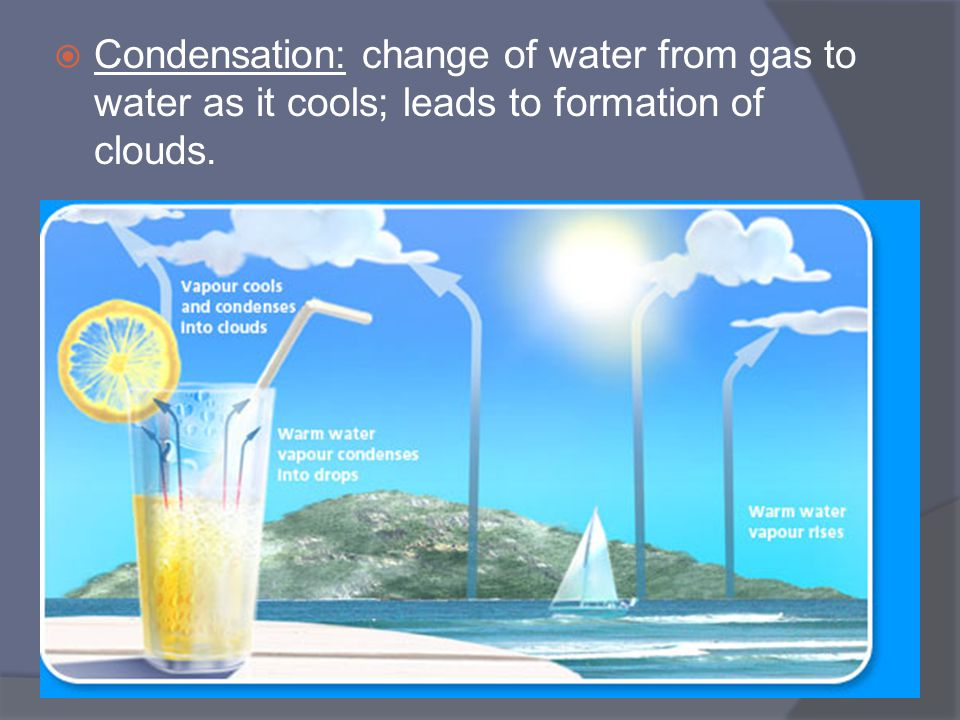 Condensation: change of water from gas to water as it cools; leads to formation of clouds.