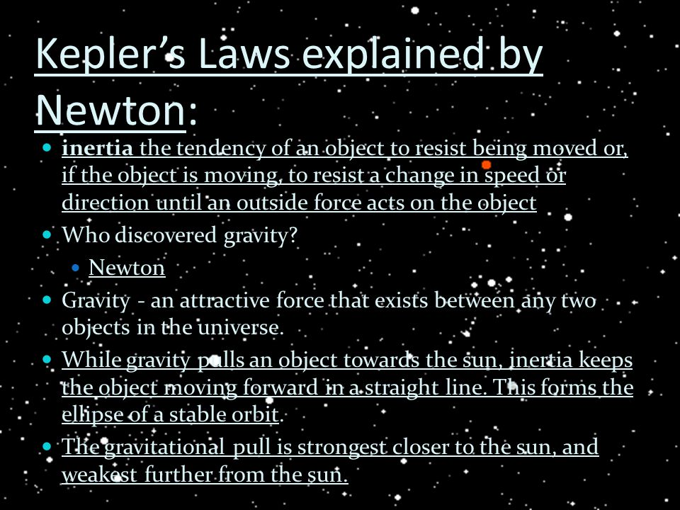 Kepler's Laws explained by Newton: