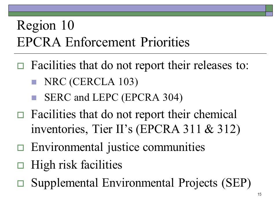 Region 10 EPCRA Enforcement Priorities