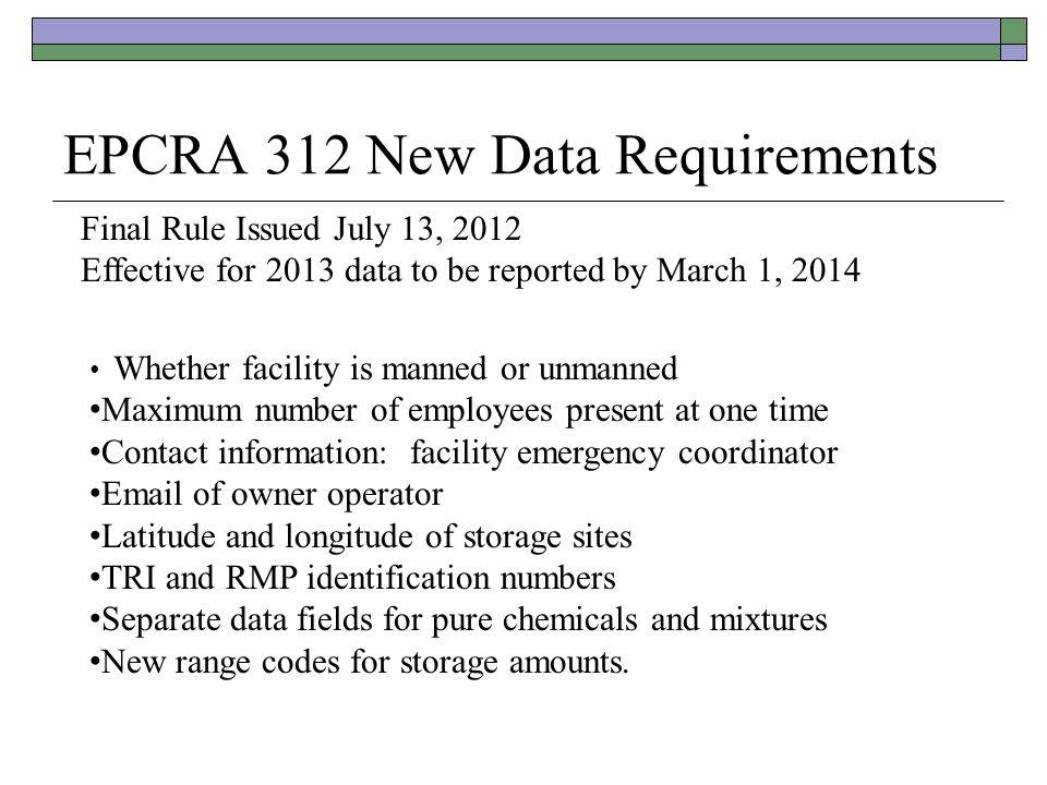 EPCRA 312 New Data Requirements