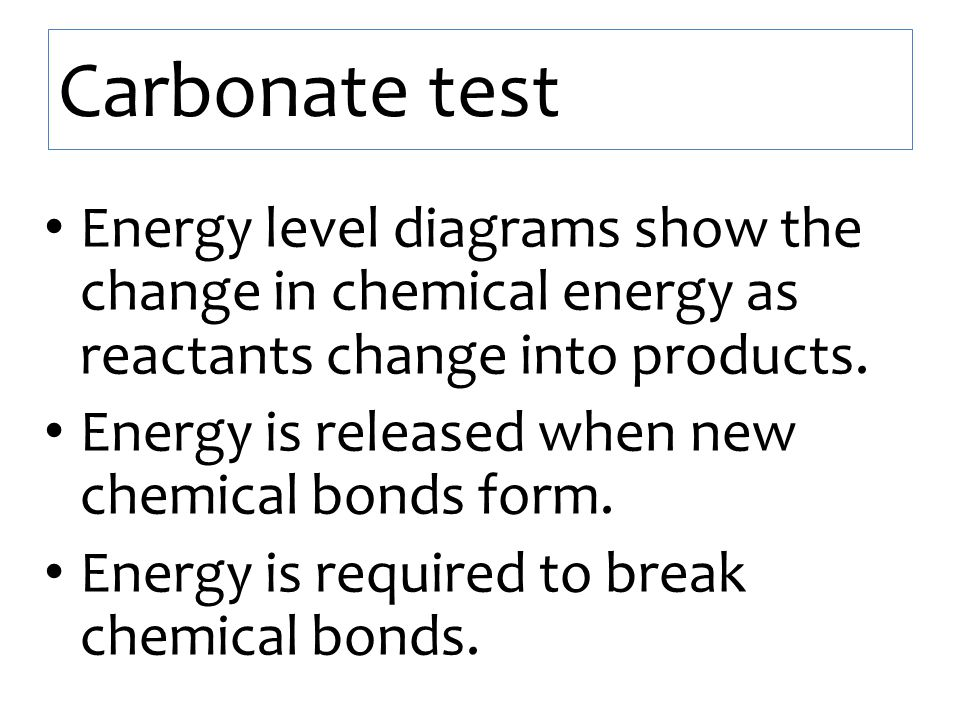 Carbonate test Energy level diagrams show the change in chemical energy as reactants change into products.