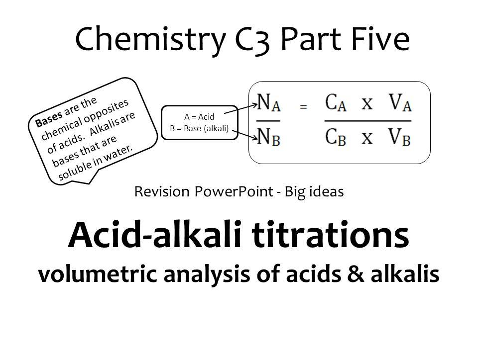 Acid-alkali titrations volumetric analysis of acids & alkalis