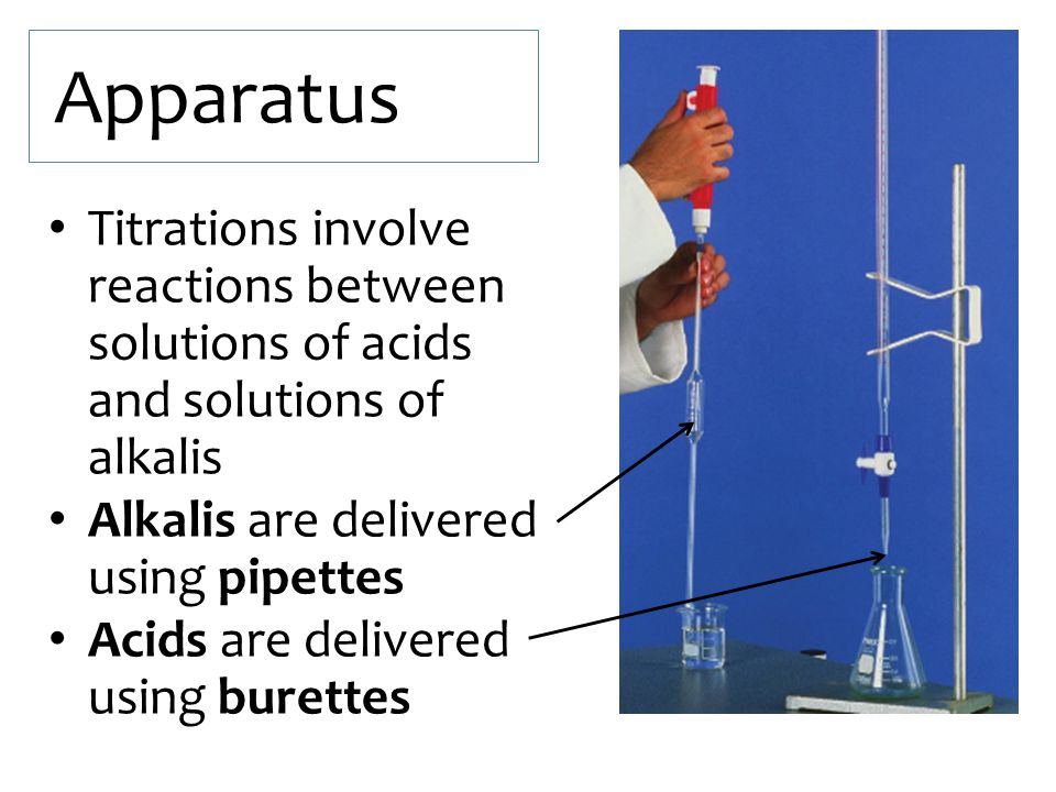 Apparatus Titrations involve reactions between solutions of acids and solutions of alkalis. Alkalis are delivered using pipettes.