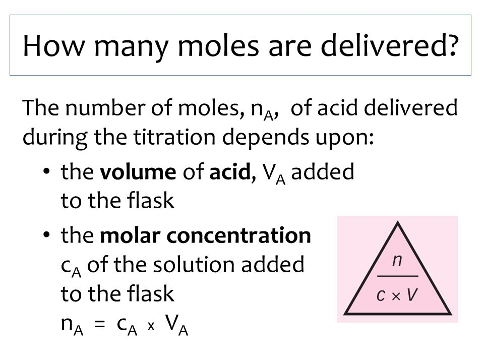 How many moles are delivered