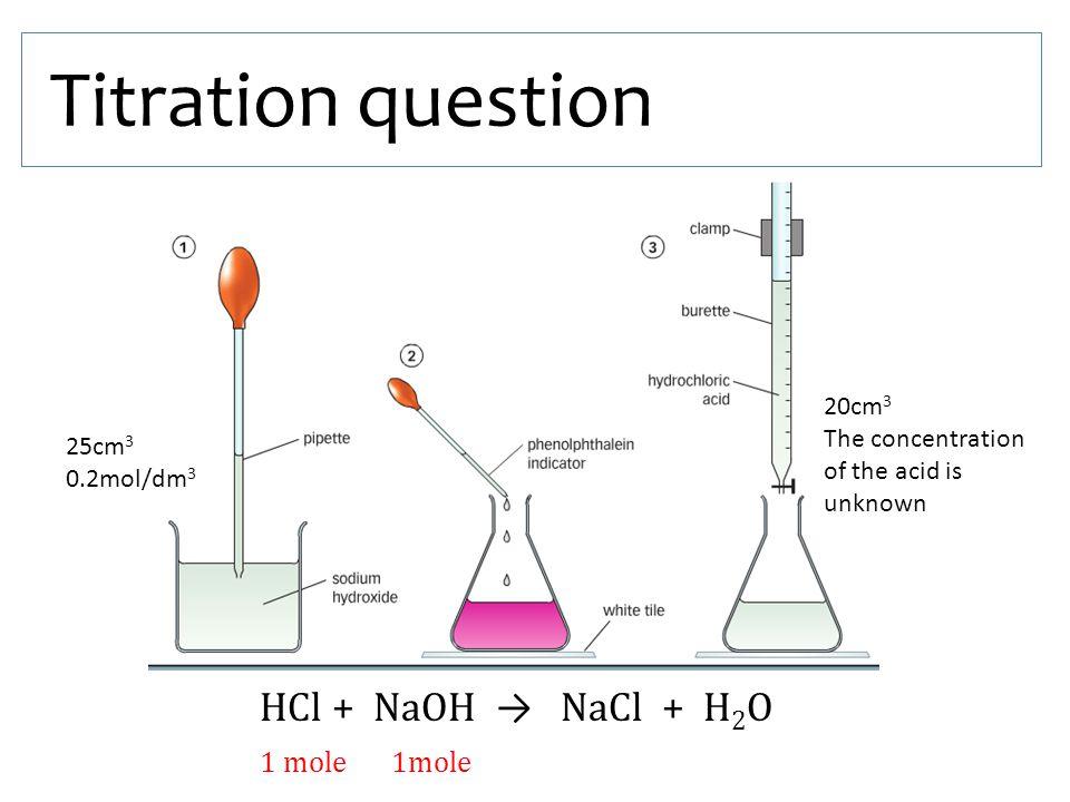 Titration question HCl + NaOH → NaCl + H2O 1 mole 1mole 20cm3