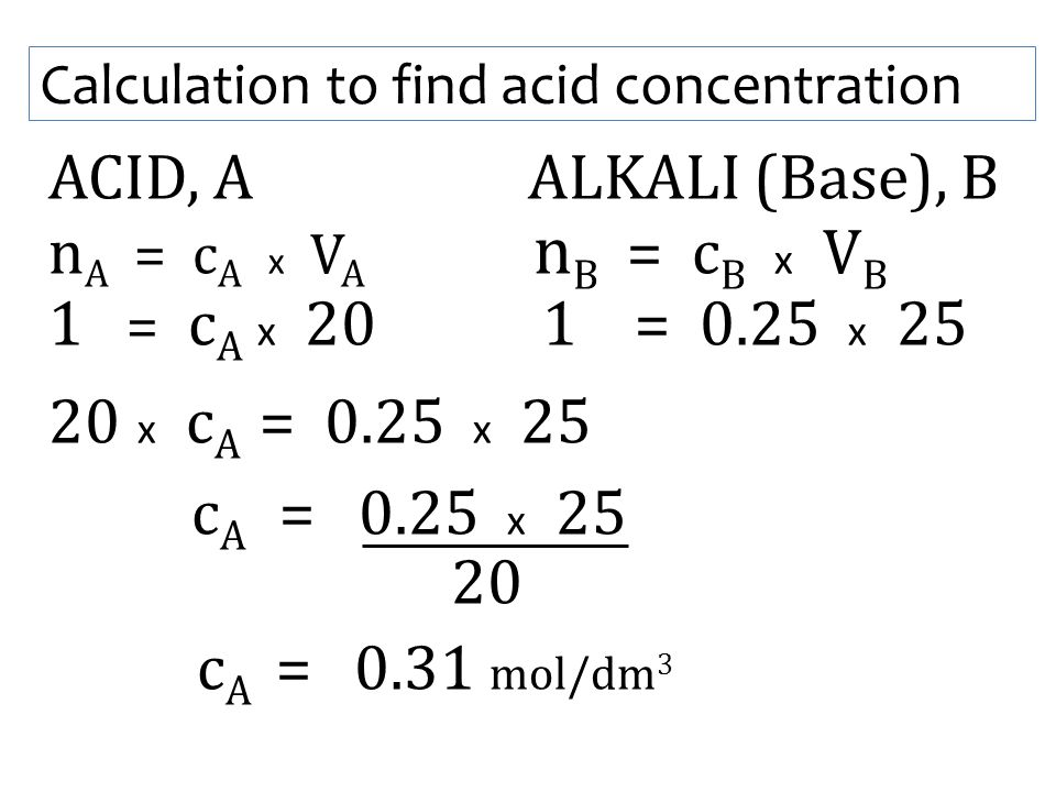 Calculation to find acid concentration