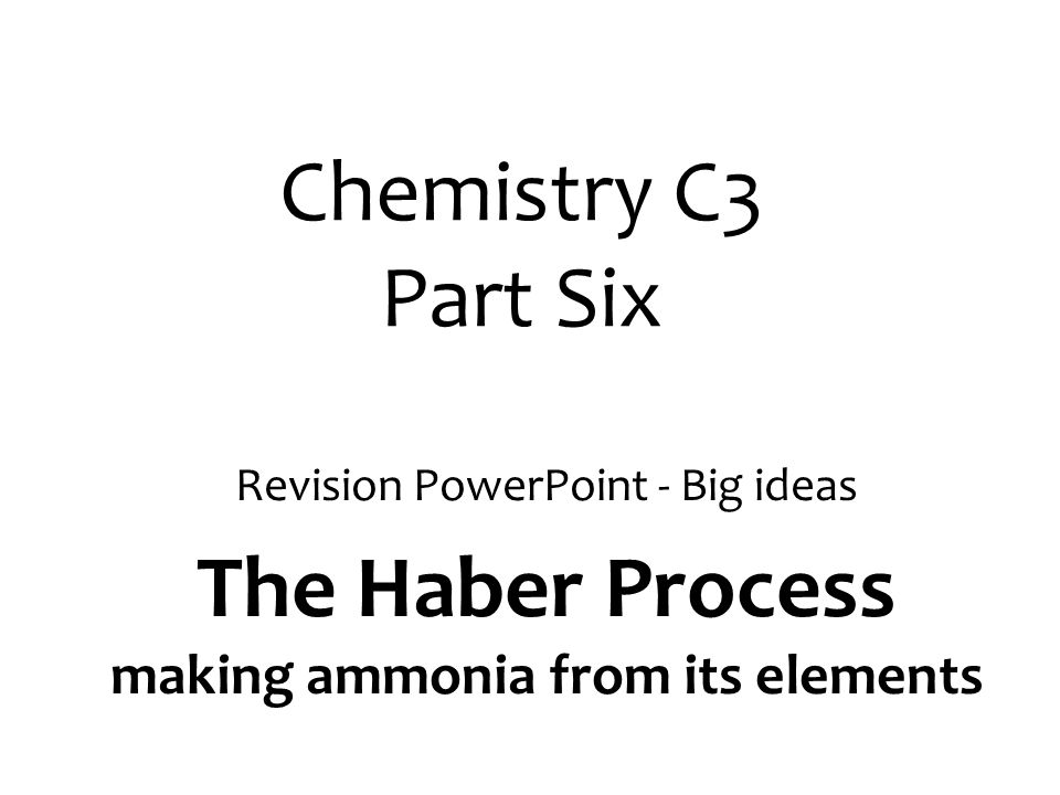 The Haber Process making ammonia from its elements