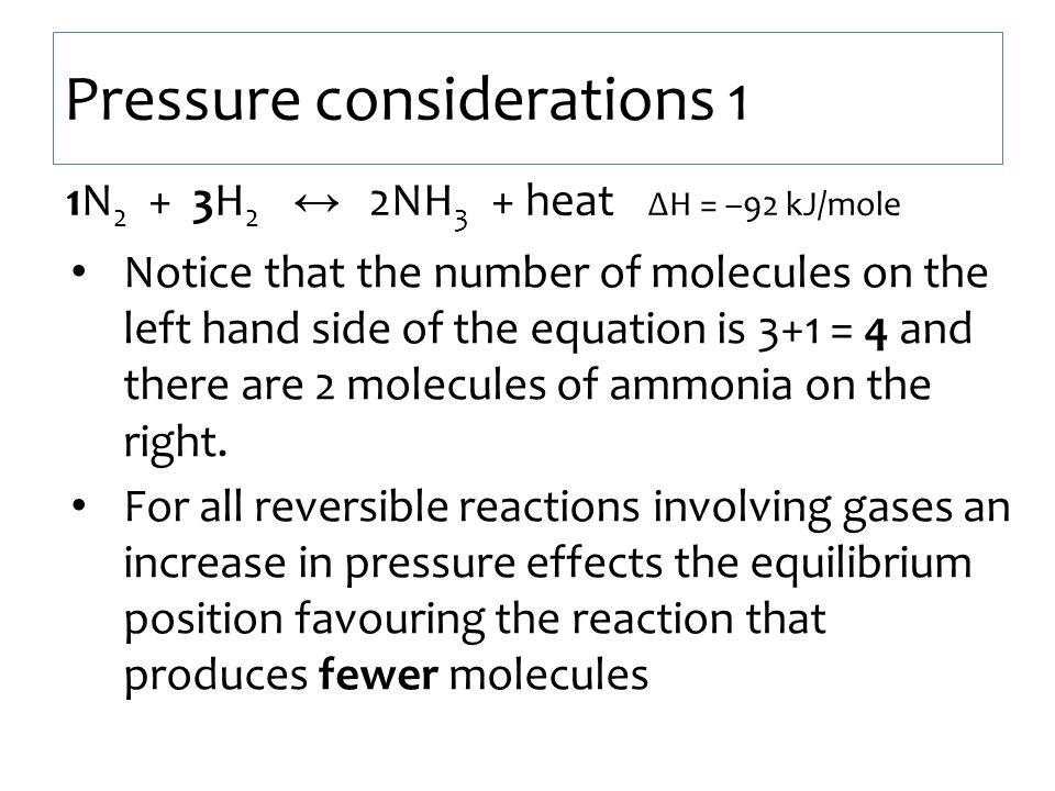 Pressure considerations 1