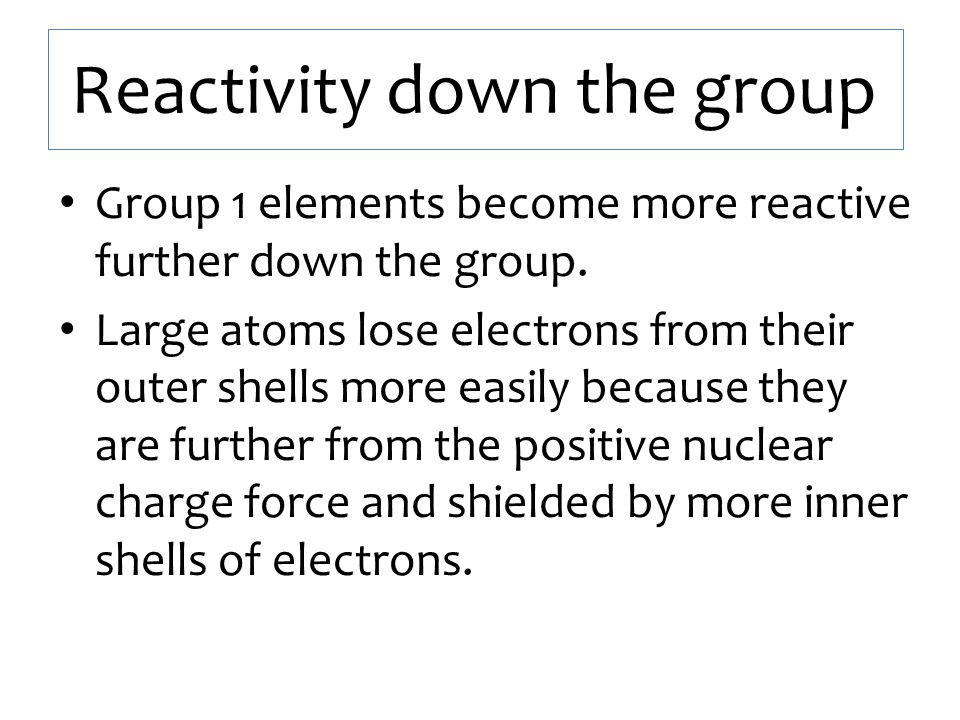 Reactivity down the group