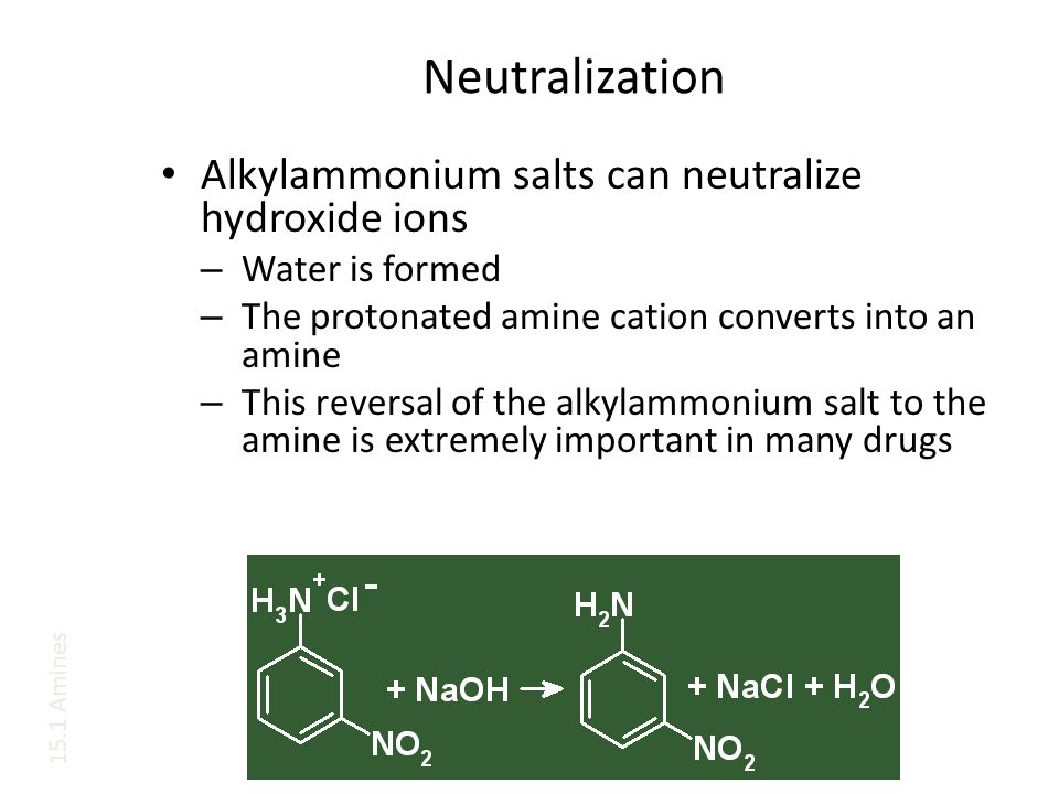Neutralization Alkylammonium salts can neutralize hydroxide ions