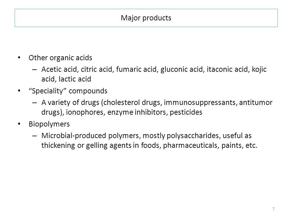 Major products Other organic acids. Acetic acid, citric acid, fumaric acid, gluconic acid, itaconic acid, kojic acid, lactic acid.