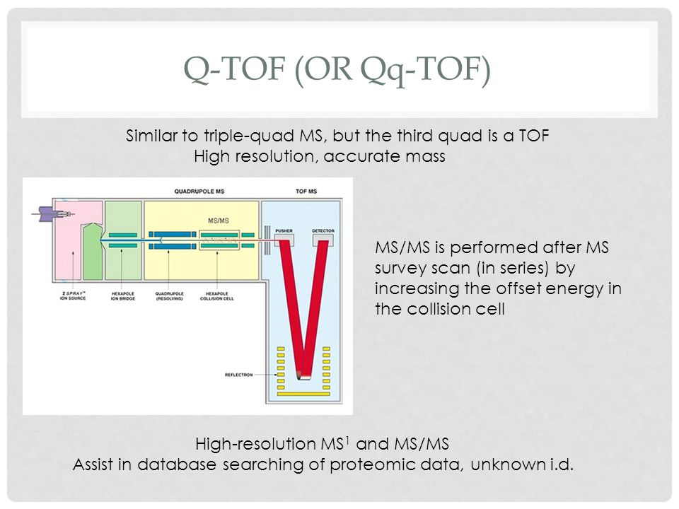 Q-tof (or Qq-TOF) Similar to triple-quad MS, but the third quad is a TOF. High resolution, accurate mass.