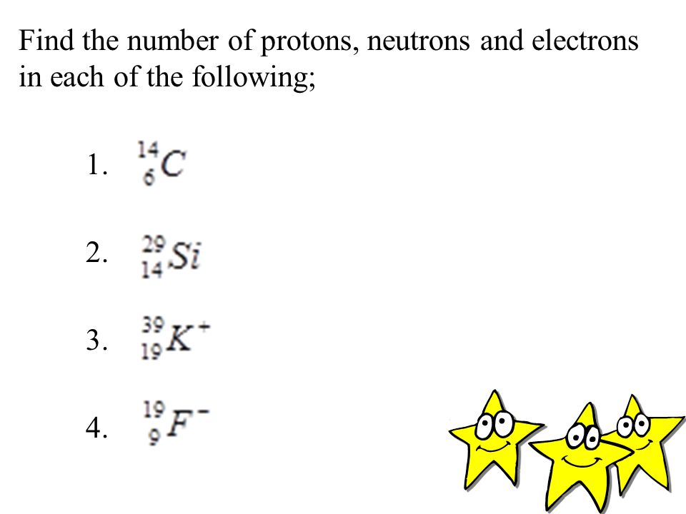 Find the number of protons, neutrons and electrons in each of the following; 1. 2. 3. 4.