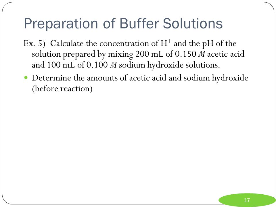 Preparation of Buffer Solutions