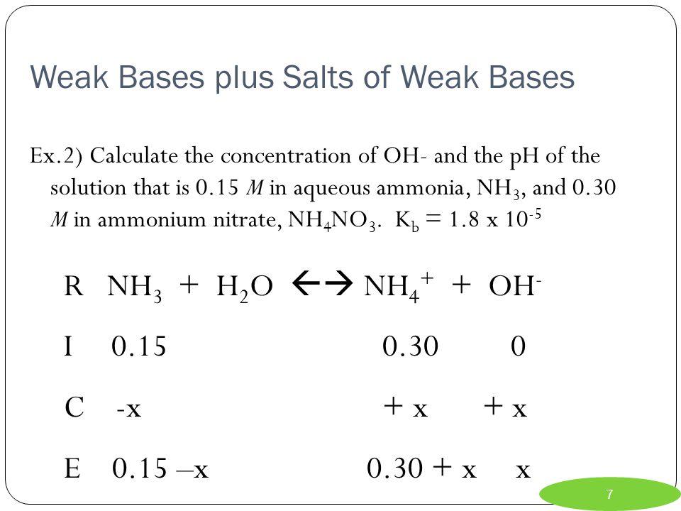 Weak Bases plus Salts of Weak Bases