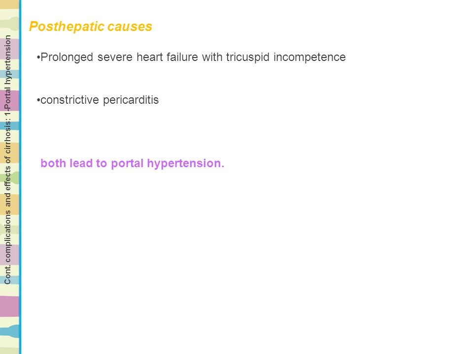 Posthepatic causes Prolonged severe heart failure with tricuspid incompetence. constrictive pericarditis.