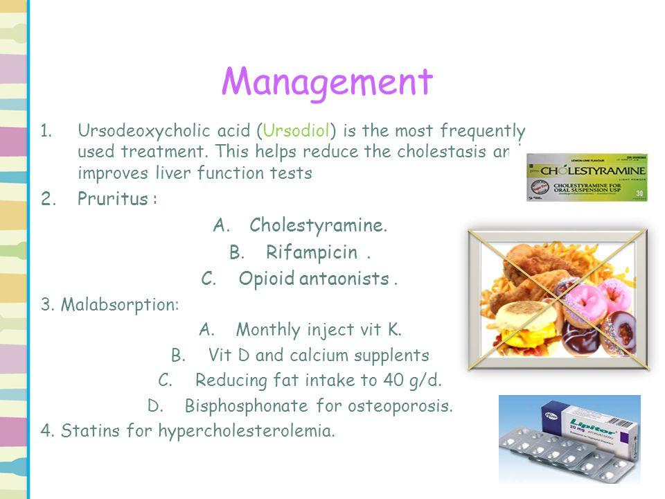 Management Pruritus : Cholestyramine. Rifampicin . Opioid antaonists .