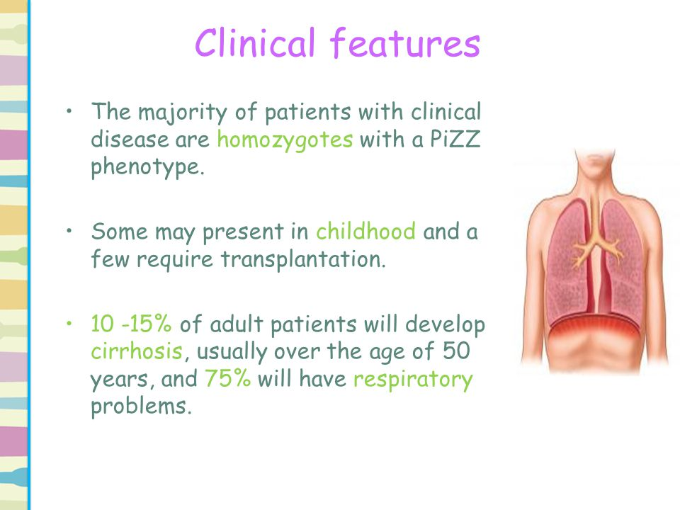 Clinical features The majority of patients with clinical disease are homozygotes with a PiZZ phenotype.