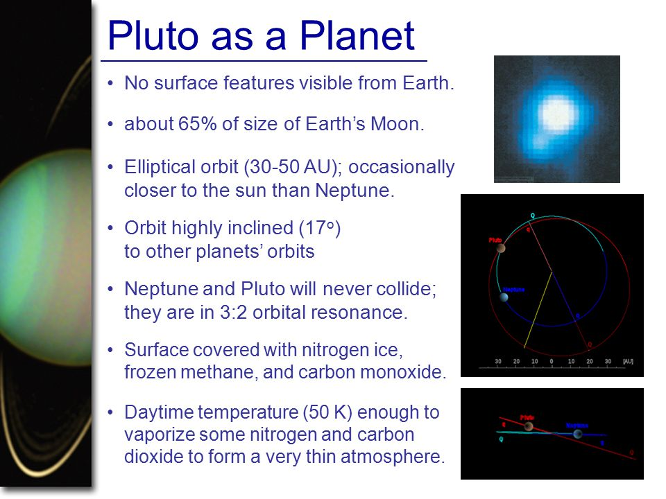 Pluto as a Planet • No surface features visible from Earth.