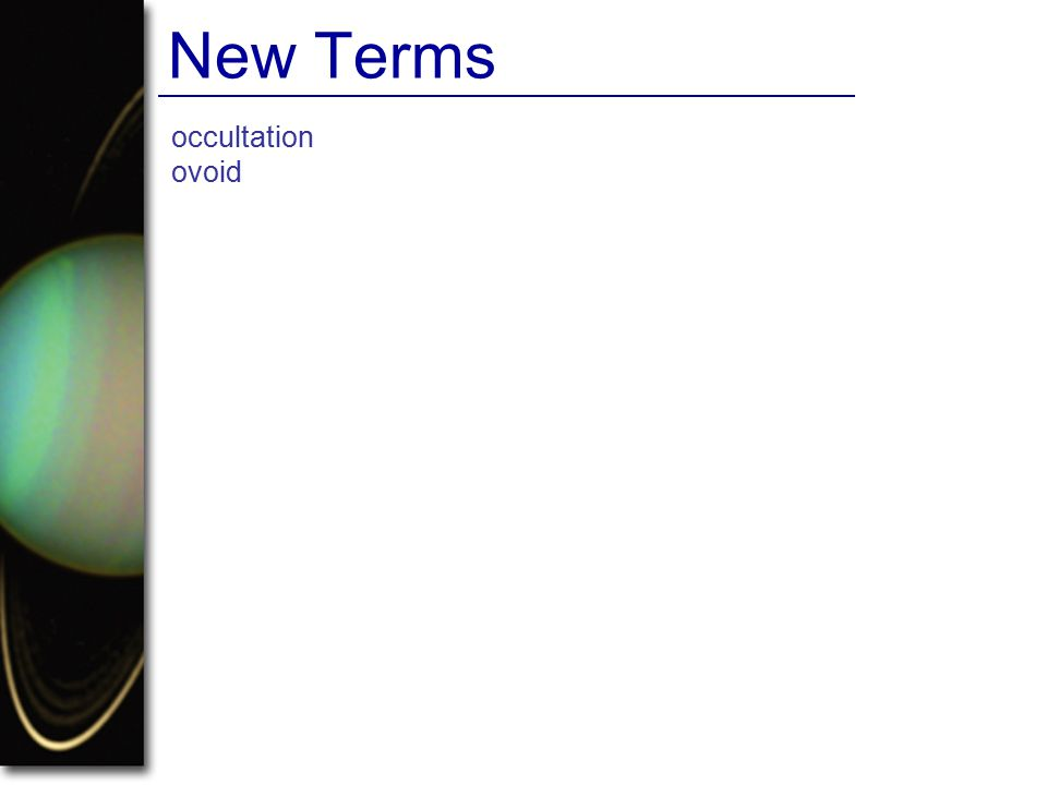 New Terms occultation ovoid