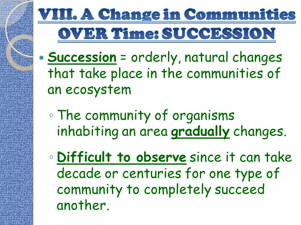 VIII. A Change in Communities OVER Time: SUCCESSION