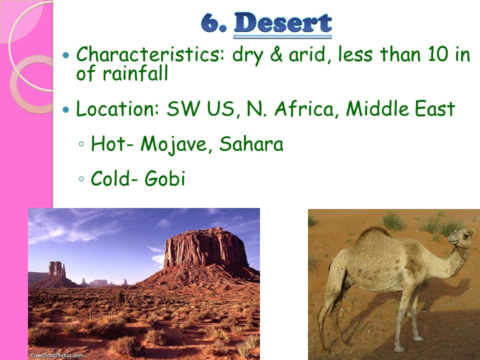 6. Desert Characteristics: dry & arid, less than 10 in of rainfall