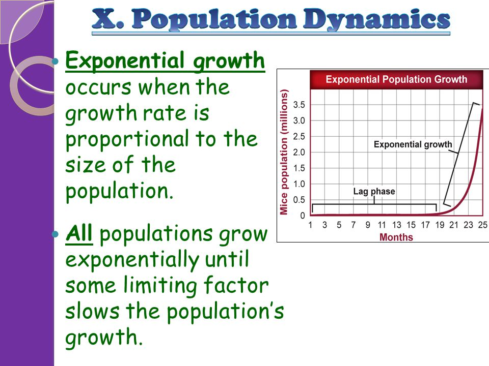 X. Population Dynamics Exponential growth occurs when the growth rate is proportional to the size of the population.