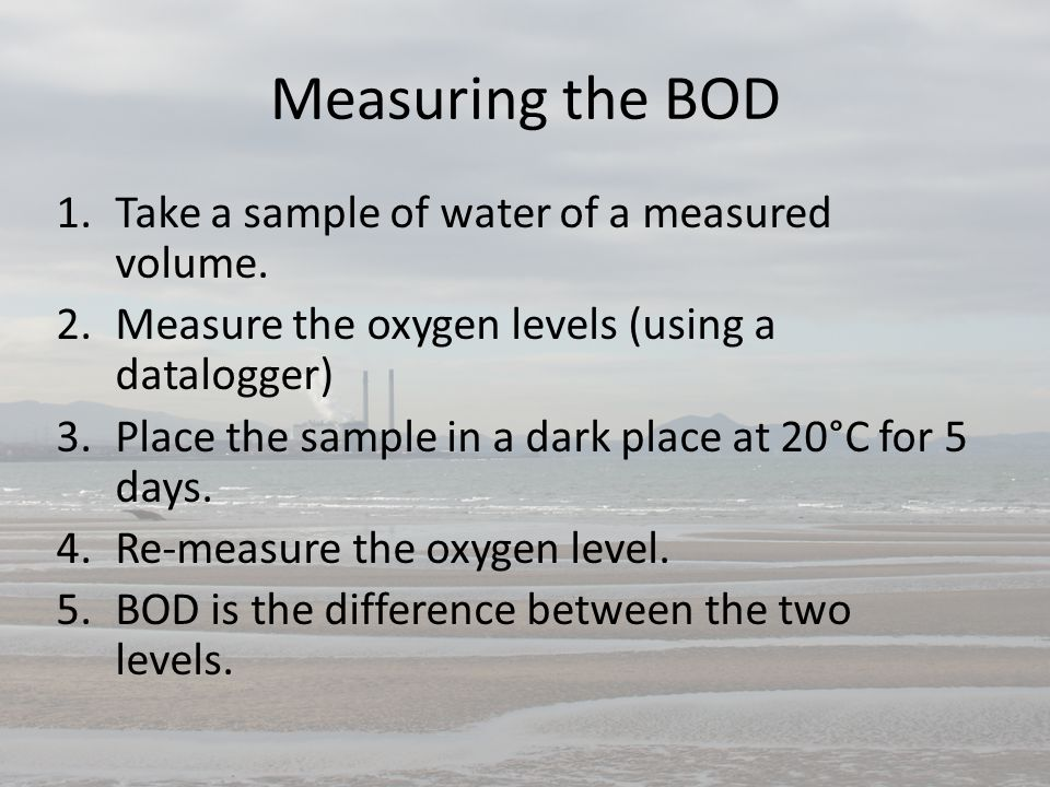 Measuring the BOD Take a sample of water of a measured volume.