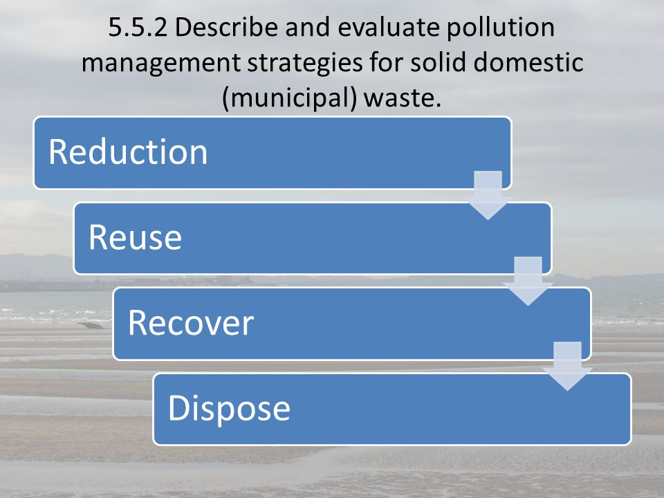 5.5.2 Describe and evaluate pollution management strategies for solid domestic (municipal) waste.