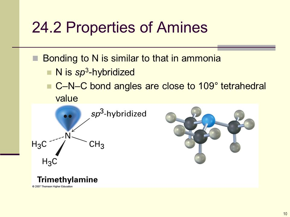 24.2 Properties of Amines Bonding to N is similar to that in ammonia
